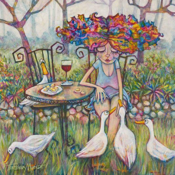 Wine & Quackers 2 By Teresa Mundt Ducks Girl Wine Quirky Funny Acrylic Cartoon Art Painting