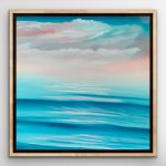 Turquoise waves kissing the pink sky