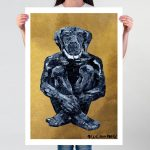 Lost Dog in Black and Gold Ltd Ed Giclee Print