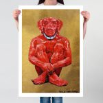 Lost Dog in Red and Gold Ltd Ed Giclee Print
