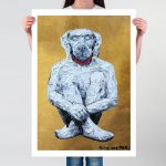 Lost Dog in White and Gold Ltd Ed Giclee Print