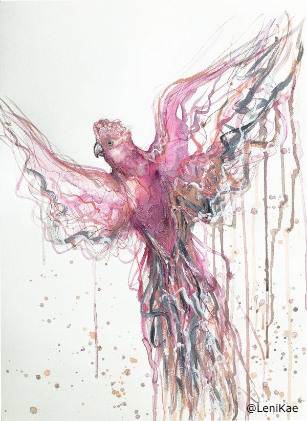 1a Sydney Artist Leni Kae Flight Of The Galah Painting