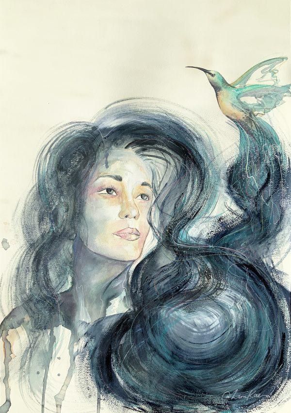 2.sydney Artist Leni Kae Hummingbird Blue Art