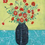 The Poppies and the Eucalyptus on the patterned tablecloth