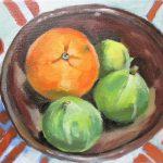Still life white figs and orange