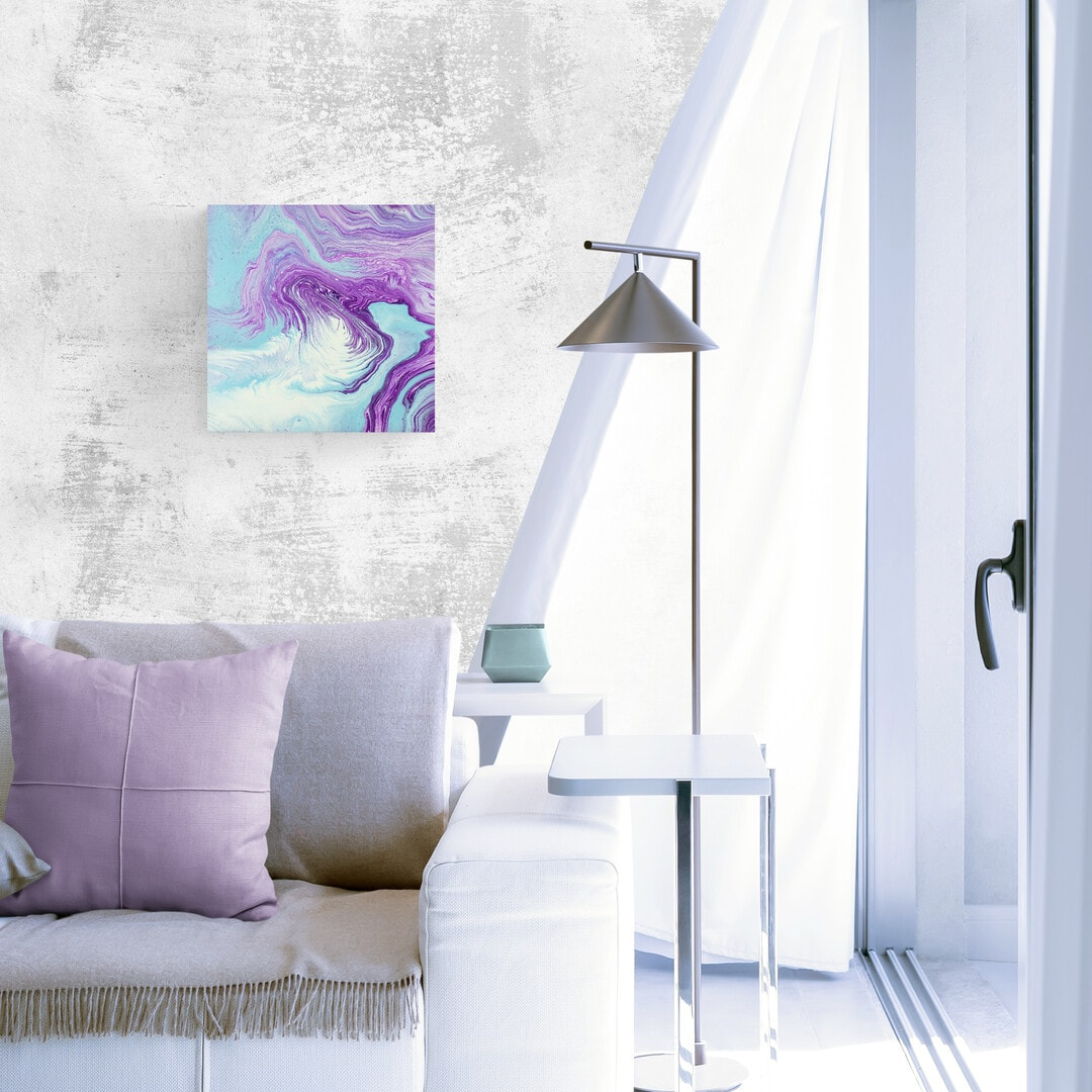 Original Purple Abstract Fluid Painting Dreamy Destiny Visions Square By Michelle Tracey