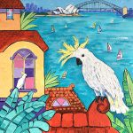 Sydney landscape with cockatoo