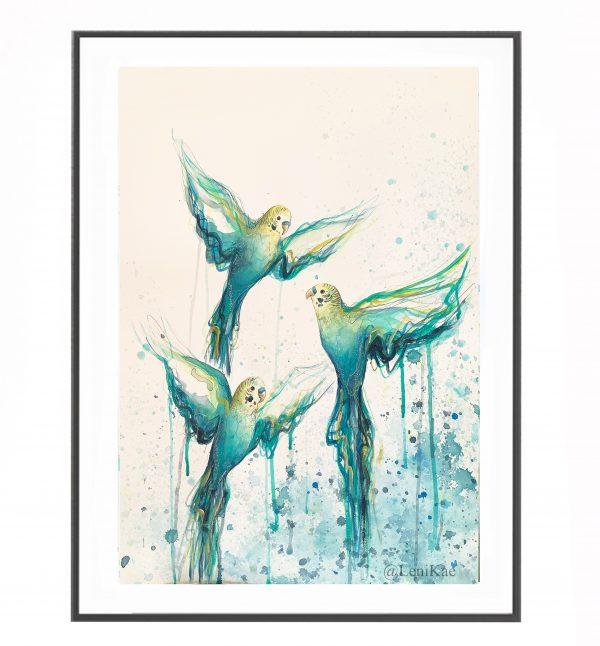 Artist Leni Kae Budgie Bath Watercolour Bird Artist Painting Framed Example