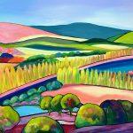 Pink Roads and Poplars