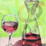 Still life wine glass and carafe