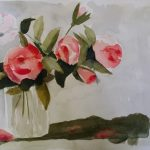 Red Roses in a Vase with Shadow