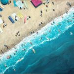 Summer swim (Aerial beach ocean landscape)