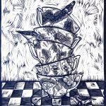 Three for Tea in Blue, Ltd Ed Print