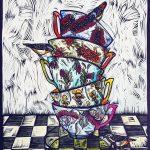 Three for Tea in Colour – Ltd Ed linocut print
