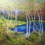 Autumn Birch Grove Lakeside
