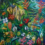 Tropical flowers and a beehive