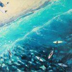 Afternoon surf (Aerial beach ocean landscape)