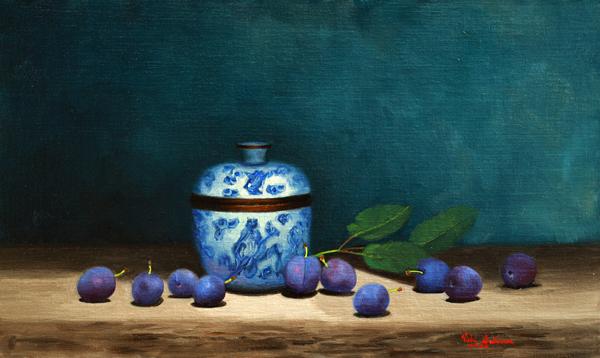 Damsons For Jam Vicki Sullivan Art Lovers Australia Oil On Linen H 29cm X W 48cm