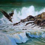 Eagle flying over big waves