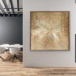 Gold Love- minimalistic gold monochrome abstract art
