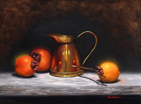 Persimmons With Copper Jug Oil On Linen H 29cm X W 39cm 2021 Art Lovers Australia