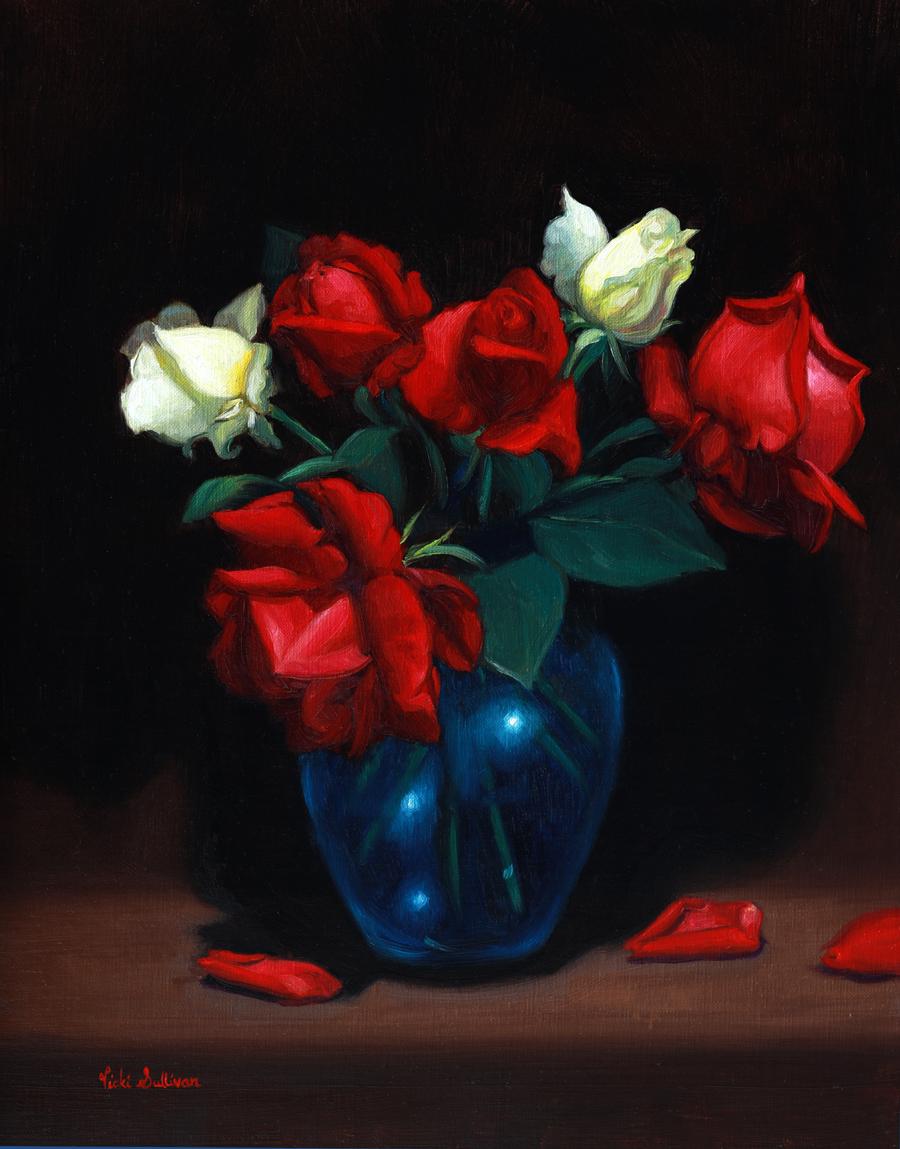 Red And White Roses Vicki Sullivan Art Lovers Australia