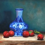 Summer Plums with Blue and white vase