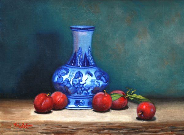 Summer Plums With Blue And White Vase Vicki Sullivan Art Lovers Australia