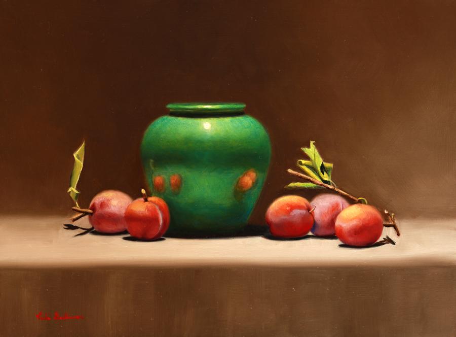 Fresh Plums With Green Pot Oil On Linen Vicki Sullivan Art Lovers Australia