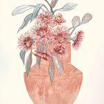 Blush gum blossoms still life