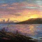 Fishing at sunset around Sydney Harbour