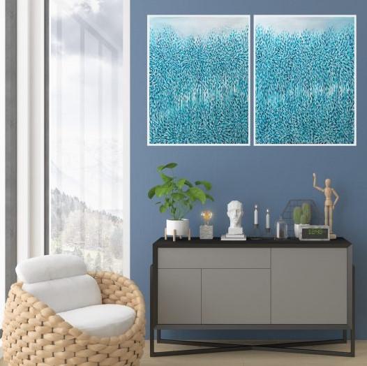 Artist Leni Kae Morning Blue Rising Diptych Interior Design Lounge Room Blue Art 1024x709