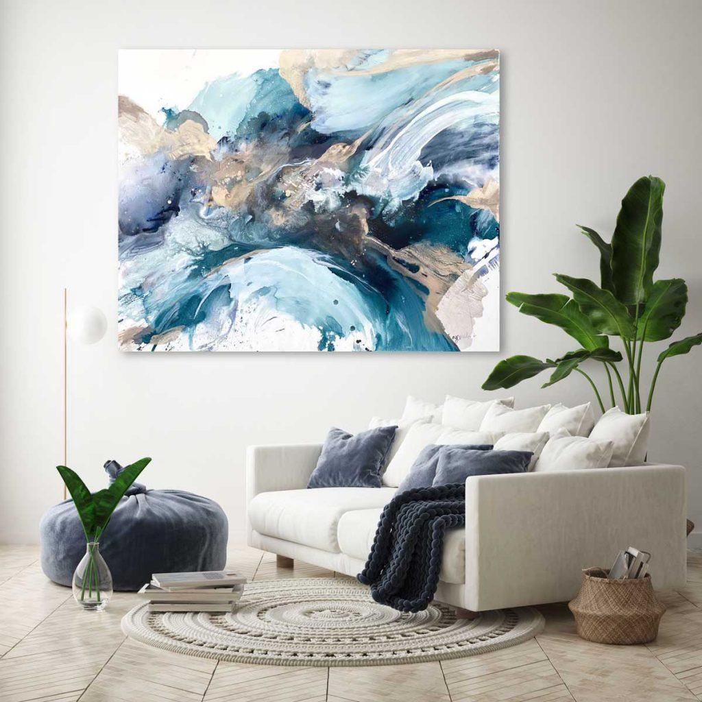 Mockup Ocean Breathing Ange Miller Blue Abstract Ocean Art