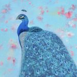 Peacock on Floral Background