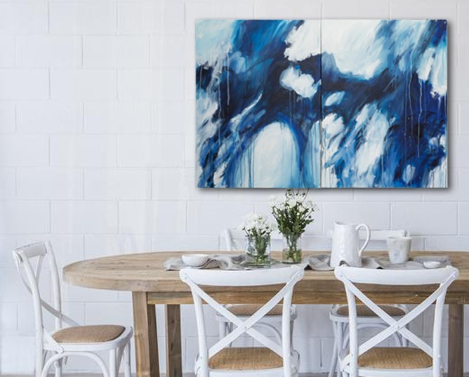 Rachel Prince Blue Diptcyh 10 76.5cmx204cm Acrylic On Canvas 2580 Quiet Reflection Series 2020 In Situ 04