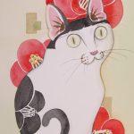 Black and White Cat & Camellia