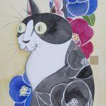 Tuxedo Cat and Camellia
