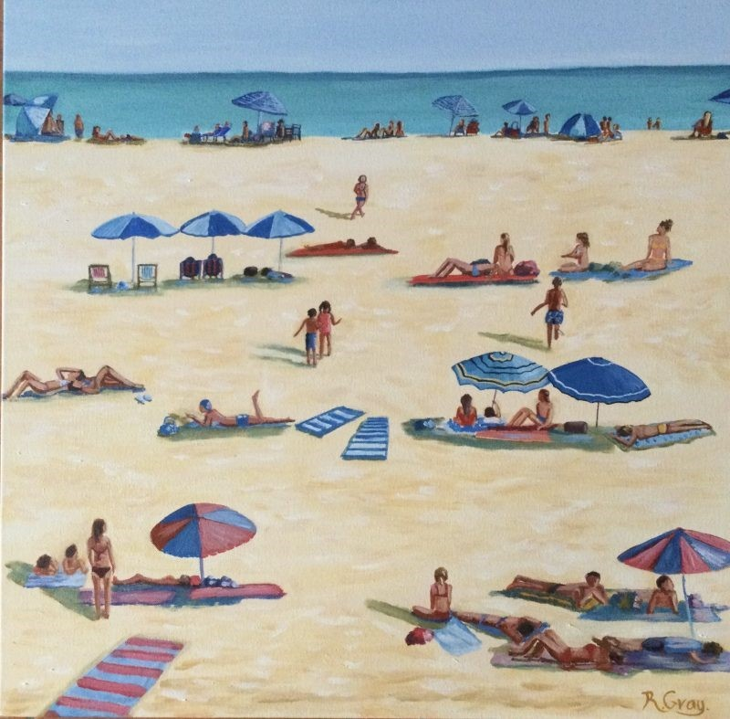 Ocean Art Retro Beach Scene Robyn Gray Art Lovers Australia