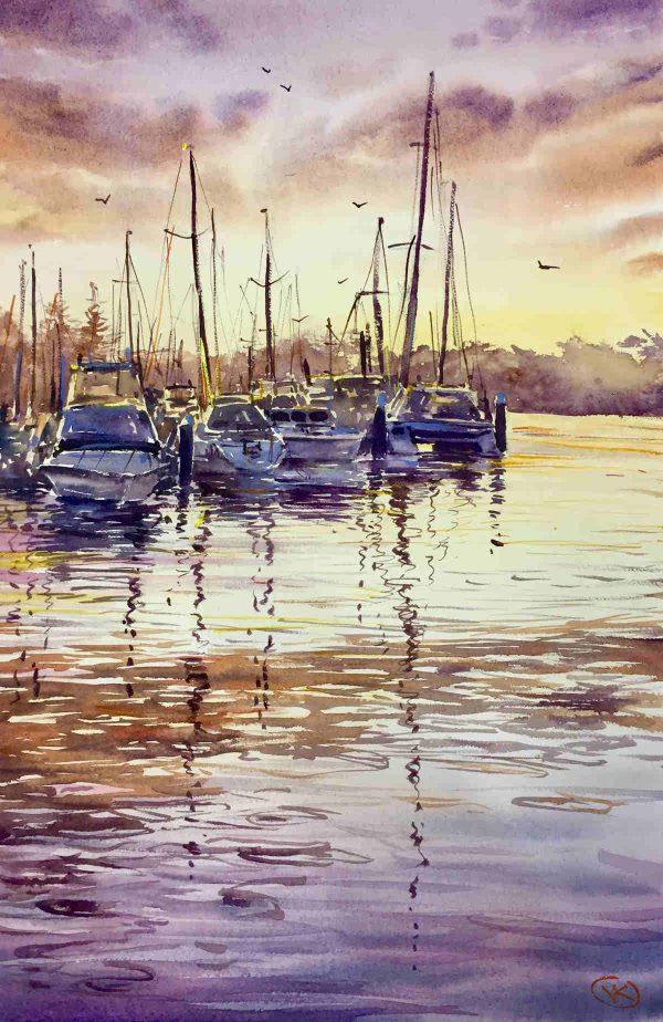 Sunset V Boats Ocean Art
