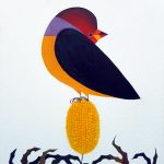 Gouldian Finch and Yellow Banksia