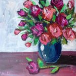 Abstract Magenta and Orange Roses No 2