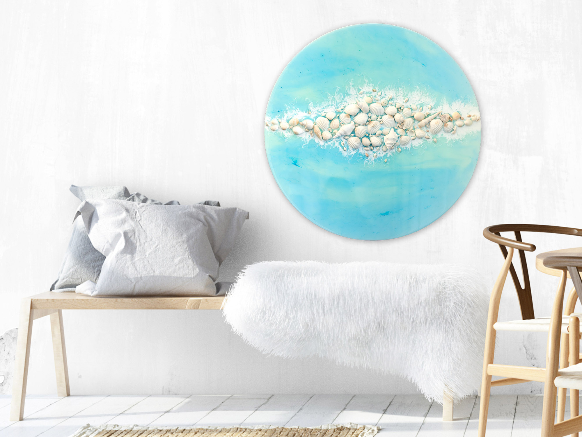 Coastal Art With Shells Resin Art Purity By Michelle Tracey