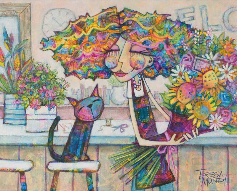 Florists Companion By Teresa Mundt Colourful Colorful Cat Florist Quirky Art Painting 1 800x645