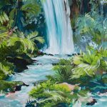Flowing Tranquility – Impressionist Waterfall Landscape