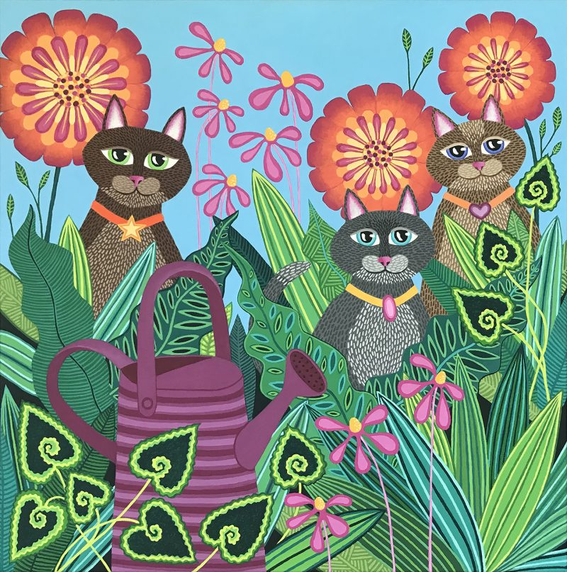 Purple Watering Can Cats By Lisa Frances Judd Front On Website 800x807