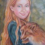 Portrait Girl and Fox
