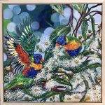 Lorikeets Chatting In The Flowering Gums