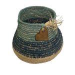 Authentic Indigenous blue green 16 cm high raffia basket