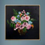 Flowers in copper vase