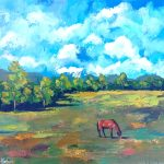 Rural Landscape with the horse